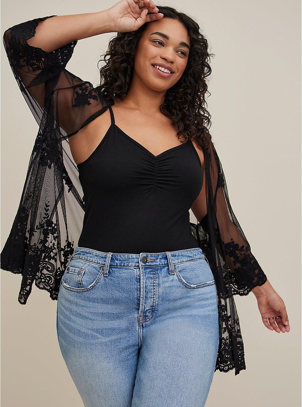 Black Embroidered Mesh Kimono, DEEP BLACK, hi-res