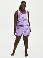 Purple Tie Dye Super Soft Sleep Romper, MULTI, alternate
