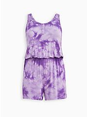 Purple Tie Dye Super Soft Sleep Romper, MULTI, hi-res