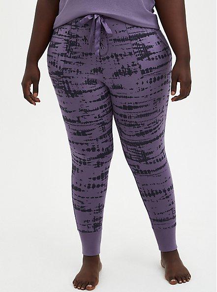 Plus Size Sleep Legging With Pockets - Super Soft Washed Purple, MULTI, alternate
