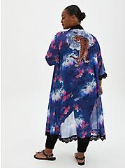 Plus Size Tiger Print Crochet Trim Chiffon Kimono, TIGER - PURPLE, hi-res