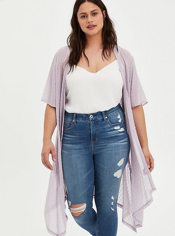 Purple Clip Dot Kimono, MAUVE, hi-res