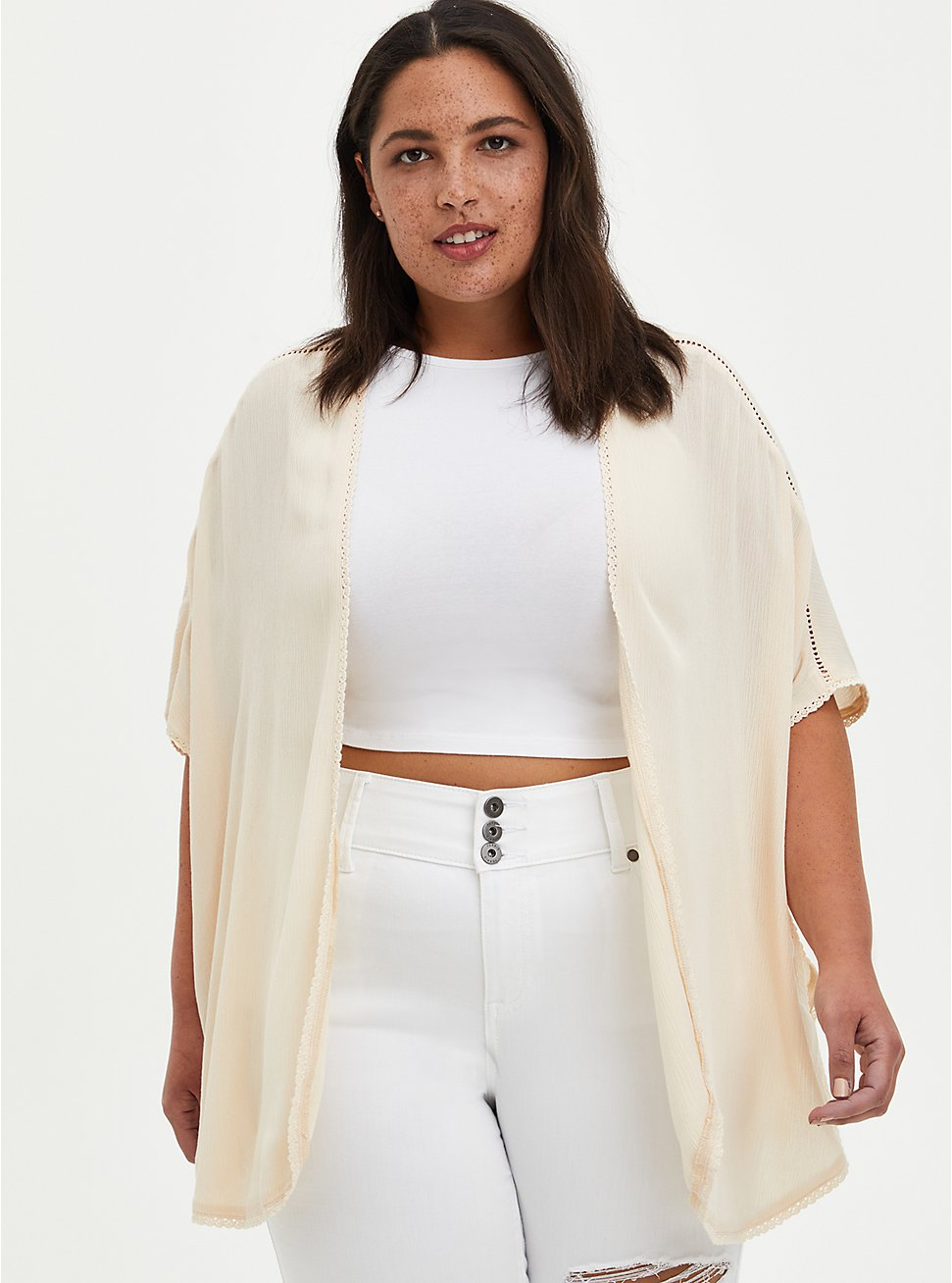 Plus Size Sand Crinkle Gauze Shawl Kimono, SAND, hi-res