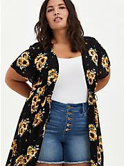 Black Sunflower Crepe Tie-Front Kimono, FLORAL - BLACK, alternate