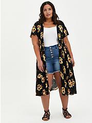 Black Sunflower Crepe Tie-Front Kimono, FLORAL - BLACK, hi-res