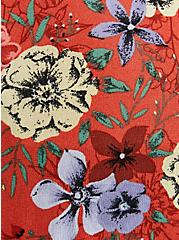 Red Floral Crepe Tie-Front Kimono, FLORAL - BROWN, alternate