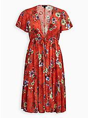 Red Floral Crepe Tie-Front Kimono, FLORAL - BROWN, hi-res