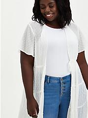 White Tiered Clip Dot Kimono, CLOUD DANCER, alternate