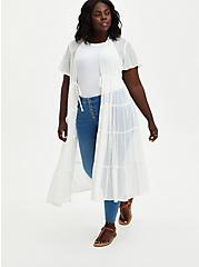 White Tiered Clip Dot Kimono, CLOUD DANCER, hi-res