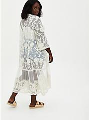 Ivory Embroidered Mesh Duster Kimono, OPTIC WHITE, alternate