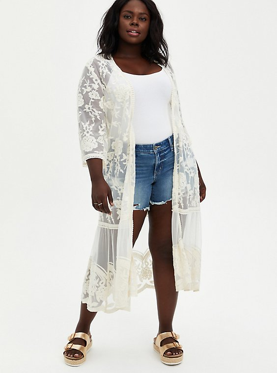 Ivory Embroidered Mesh Duster Kimono, OPTIC WHITE, hi-res