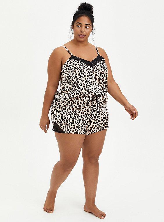 Plus Size Leopard Satin Lace Hem Sleep Short, , hi-res