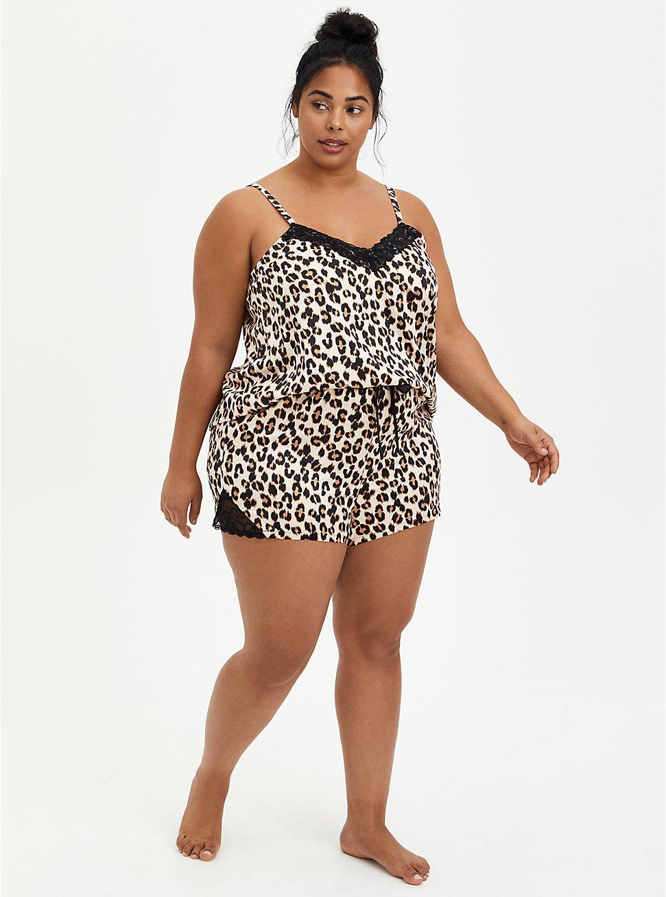 Plus Size Leopard Satin Lace Hem Sleep Short, MULTI, hi-res