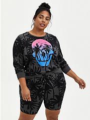 Charcoal Grey Skull Micro Modal Sleep Sweatshirt, MULTI, hi-res