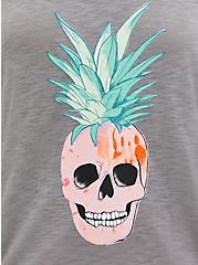 Heather Grey Pineapple Skull Sleep Tank, GREY, alternate