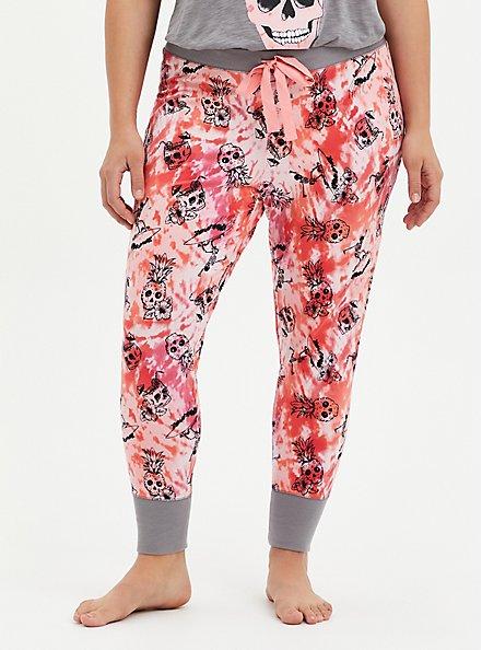 Plus Size Pink Pineapple Sleep Legging, MULTI, alternate