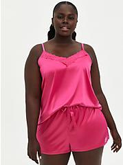 Pink Satin Lace Trim Sleep Cami, PINK, hi-res
