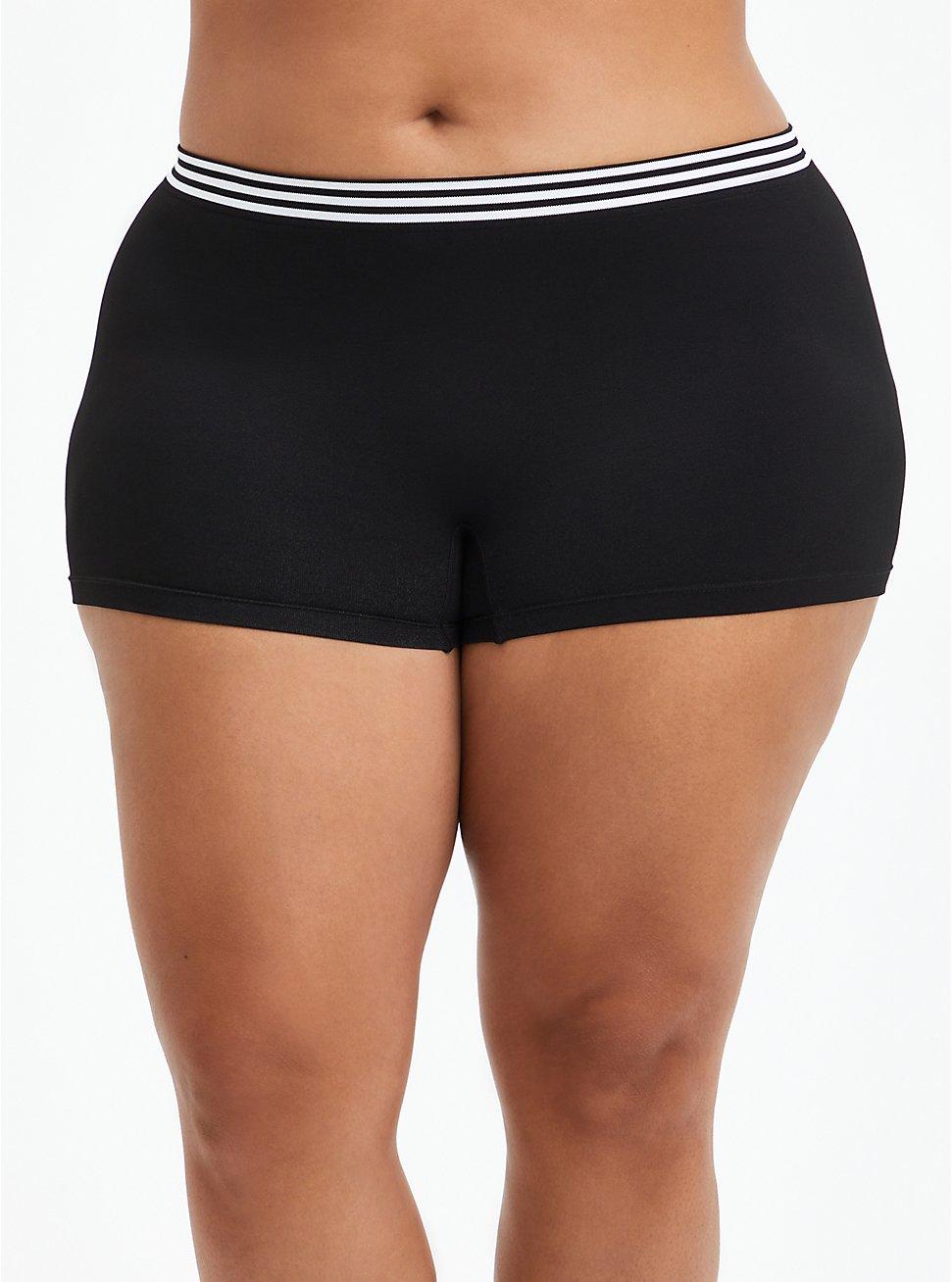 Seamless Boyshort Panty - Stripe Black, RICH BLACK, hi-res