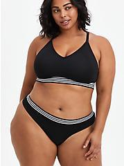 Seamless Thong Panty - Stripe Black, RICH BLACK, alternate
