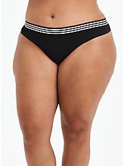 Seamless Thong Panty - Stripe Black, RICH BLACK, hi-res