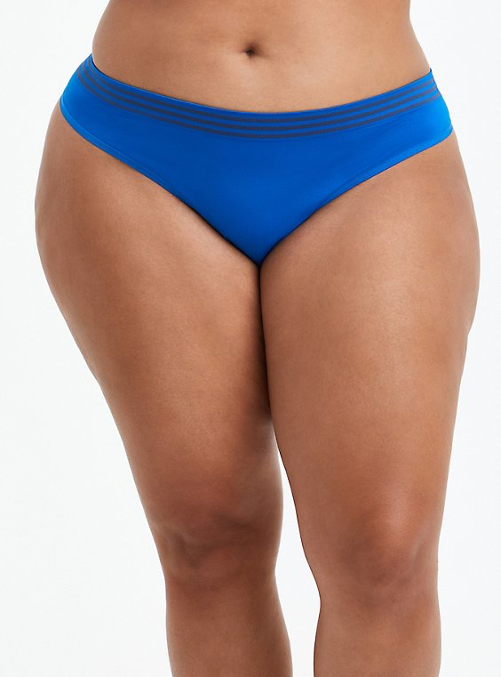Seamless Thong Panty - Stripe Blue, LAPIS BLUE, hi-res