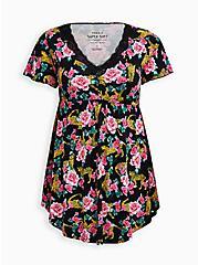 Black Cheetah Floral Sleep Shirt, MULTI, hi-res