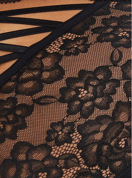 Cheeky Panty - Black Lace Lattice, FLORAL IN GALAXY, alternate