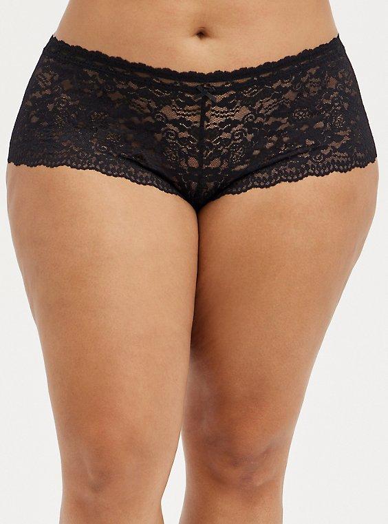 Open Gusset Cheeky Panty - Lace Black, RICH BLACK, hi-res