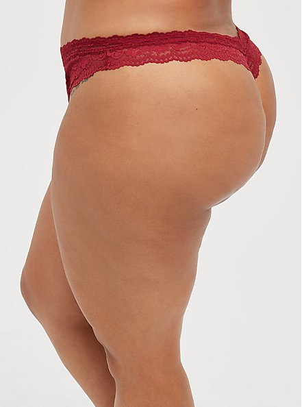 Open Gusset Thong Panty - Lace Red, BIKING RED, alternate
