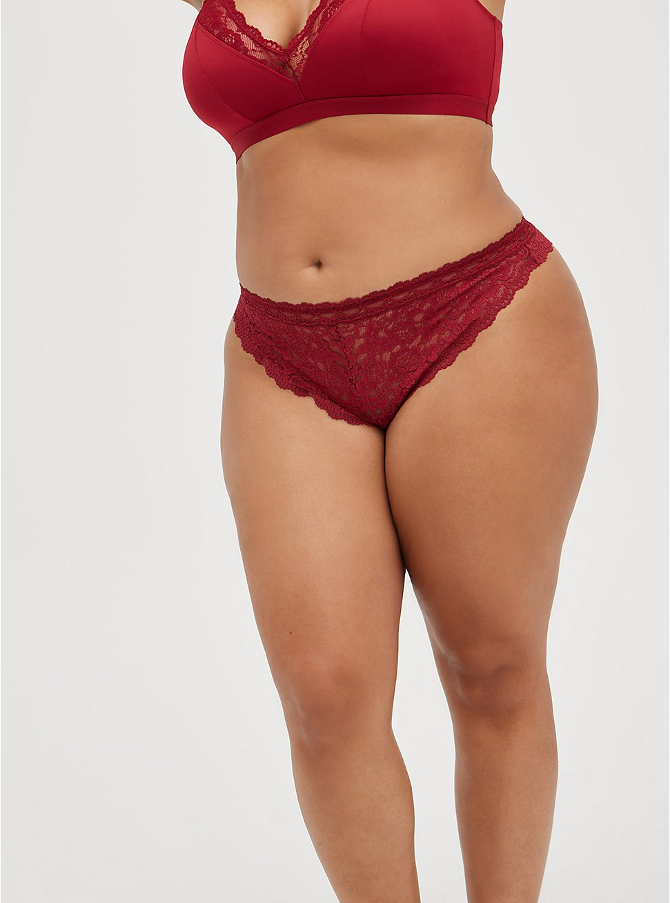 Open Gusset Thong Panty - Lace Red, BIKING RED, hi-res