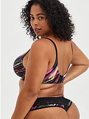 Second Skin Lattice Back Thong Panty - Painted Stripe Black, SOUNDWAVE PAINTED STRIPES, alternate
