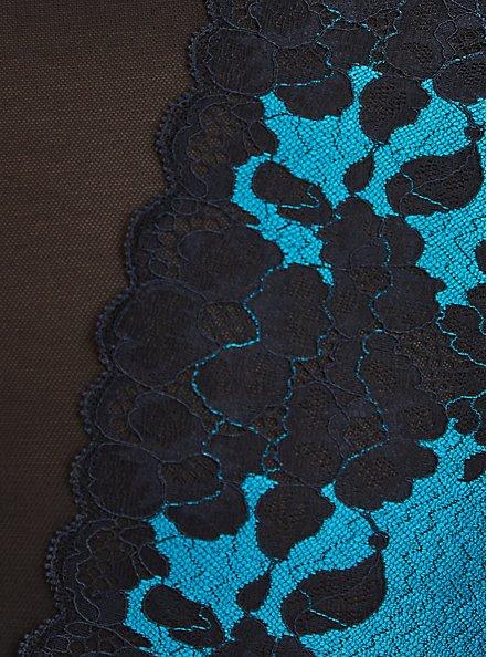 High Waist  Lattice Back Panty -  Boudoir Mesh & Lace Turquoise, BARRIER REEF, alternate