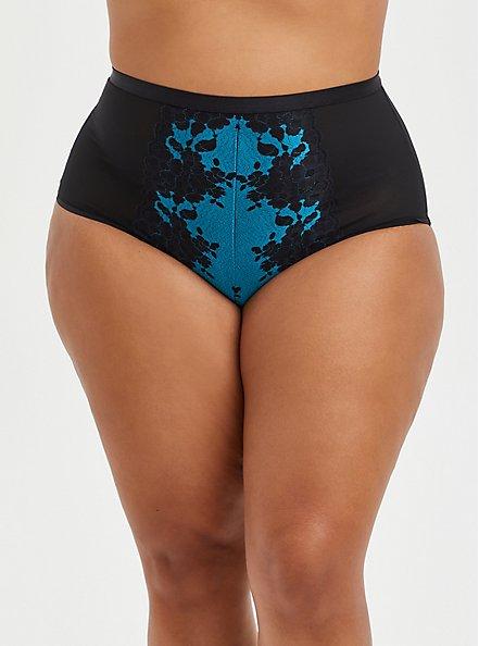 High Waist  Lattice Back Panty -  Boudoir Mesh & Lace Turquoise, BARRIER REEF, hi-res