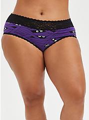 Wide Lace Trim Cheeky Panty - Cotton Mummy Wrap Purple, UNDER WRAPS, hi-res