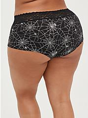 Wide Lace Boyshort Panty - Cotton-Blend Black And Silver Webs , RAINBOW WEBS, alternate