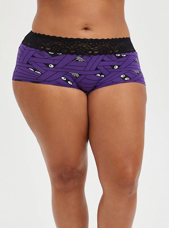 Wide Lace Trim Boyshort Panty - Cotton Mummy Wrap Purple, UNDER WRAPS, hi-res