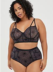 Cutout High Waist Panty - Mesh Webs Black, CAUGHT IN A WEB, alternate