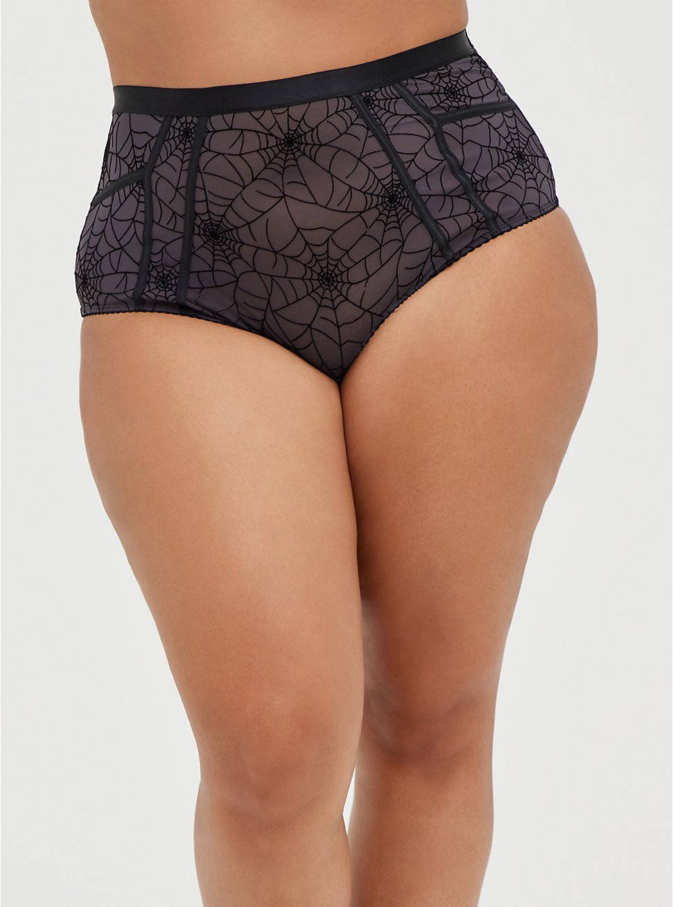 Cutout High Waist Panty - Mesh Webs Black, CAUGHT IN A WEB, hi-res