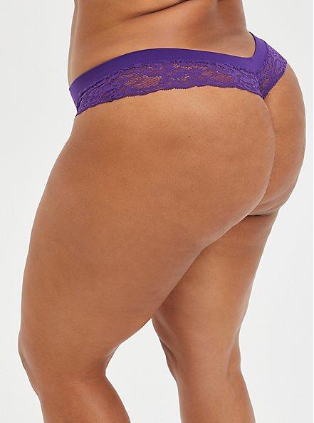 Seamless Flirt Thong Panty - Lace Purple, PETUNIA, alternate