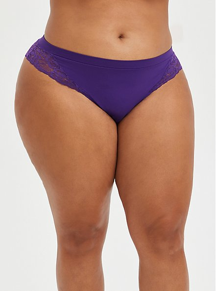 Seamless Flirt Thong Panty - Lace Purple, PETUNIA, hi-res