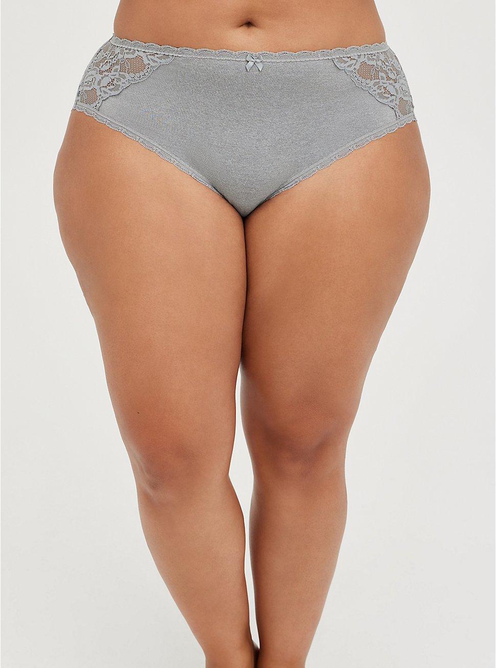 Lattice Back Hipster Panty - Lace Heather Grey , SHARKSKIN HEATHER GREY, hi-res