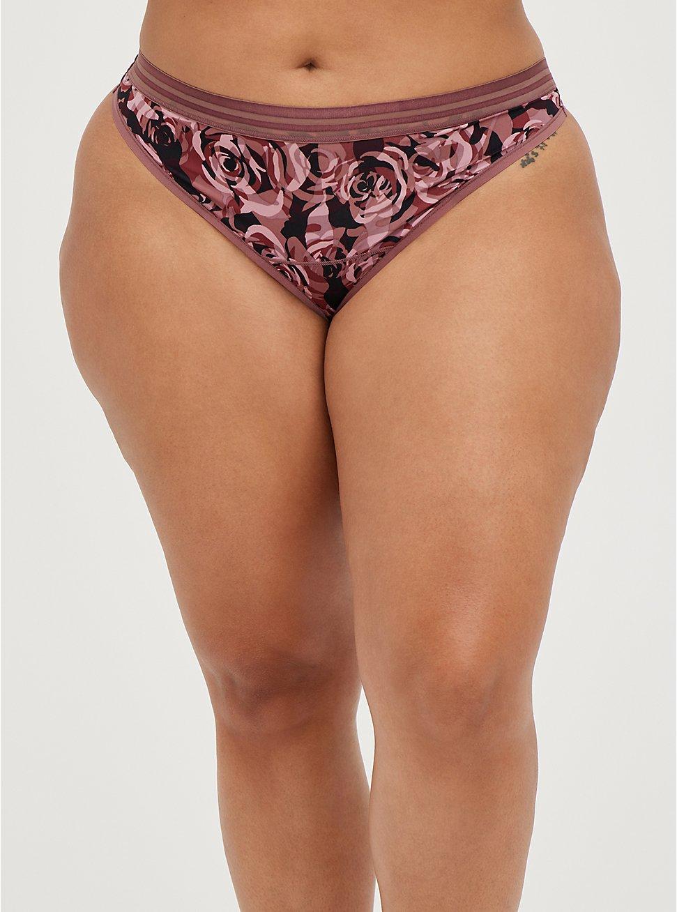 Second Skin Thong Panty - Microfiber Camo Rose, ROSEY CAMO, hi-res