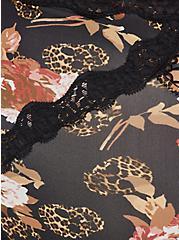 Brief Panty - Microfiber & Lace Floral Leopard Skull  Black, LEOPARD SKULL ROSES, alternate