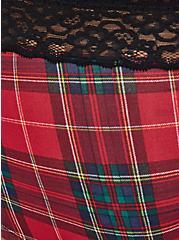 Wide Lace Trim Boyshort Panty - Cotton Plaid Red, TARTAN PLAID, alternate