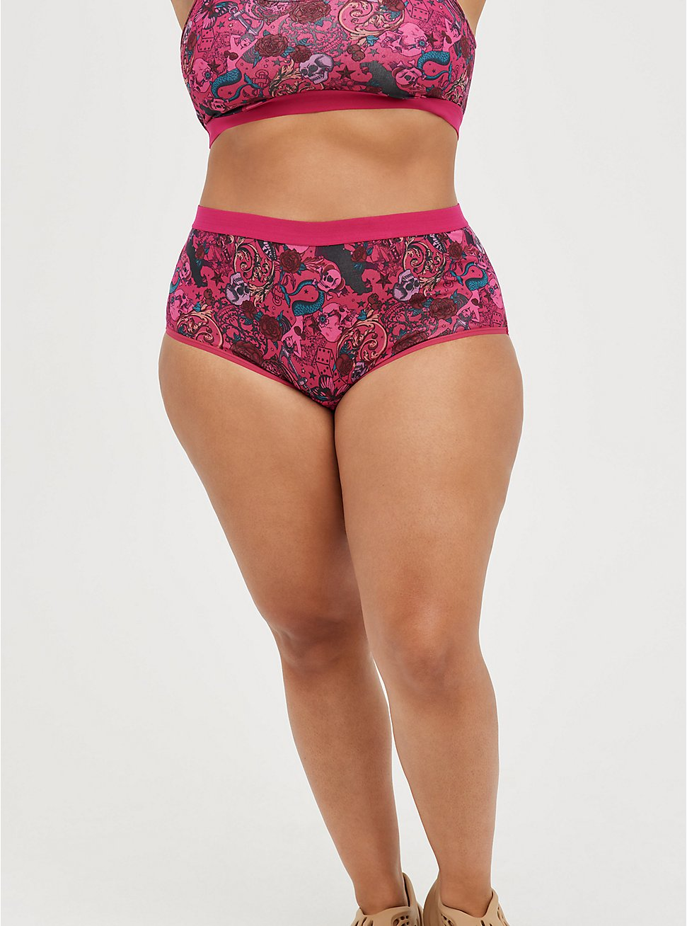 Plus Size Brief Panty - Cotton-Blend Tattoo Pink, TATTOO SINK, hi-res