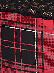 Plus Size Wide Lace Trim Cheeky Panty - Second Skin Plaid Red, NY PLAID, alternate
