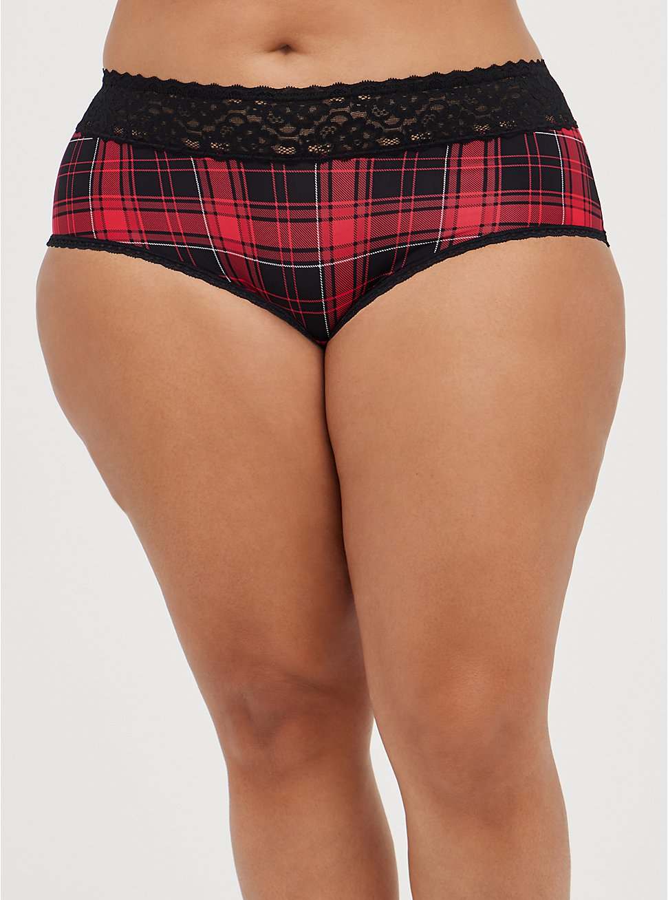 Plus Size Wide Lace Trim Cheeky Panty - Second Skin Plaid Red, NY PLAID, hi-res