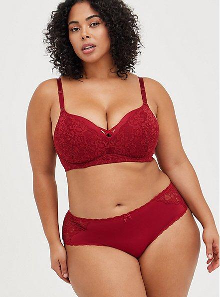 Lattice Back Hipster Panty - Microfiber & Lace Red, BIKING RED, alternate