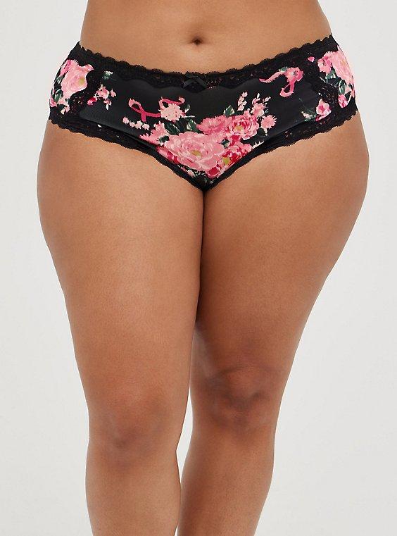 Breast Cancer Awareness Lattice Back Hipster Panty - Microfiber Pink, BCA GIRL POWER, hi-res