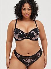 Plus Size Boudoir Thong Panty - Lace Pink & Black, LOTUS, alternate